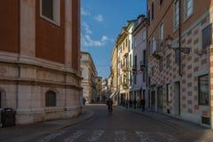街道在威岑扎,意大利 库存照片
