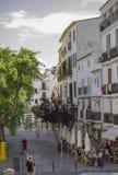 街道在市伊维萨岛,西班牙 图库摄影