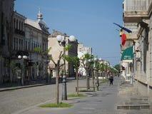 街道在布勒伊拉镇,罗马尼亚 免版税图库摄影