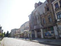 街道在布勒伊拉镇,罗马尼亚 免版税库存图片