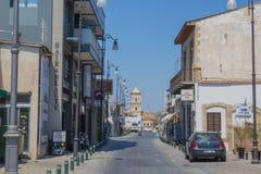 街道在拉纳卡,塞浦路斯 免版税图库摄影