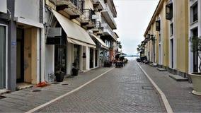 街道在普雷韦扎,希腊镇  图库摄影