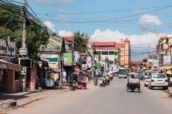 街道在暹粒市,柬埔寨 图库摄影