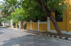 街道在本地治里市,印度 免版税库存照片