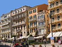 街道在老镇在科孚岛希腊海岛上的科孚岛镇  图库摄影