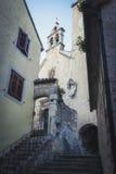 街道在老镇在Omis镇,克罗地亚 库存图片