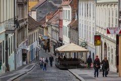 街道在老镇萨格勒布 免版税图库摄影