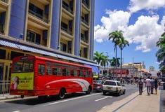街道在路易港,毛里求斯 库存图片