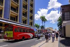 街道在路易港,毛里求斯 库存照片