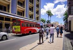 街道在路易港,毛里求斯 免版税库存照片