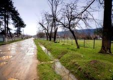 街道在雨以后的村庄 库存照片