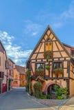 街道在Bergheim,阿尔萨斯,法国 库存照片