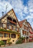 街道在Bergheim,阿尔萨斯,法国 库存图片