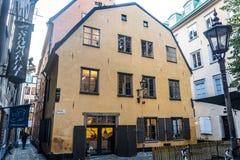 街道在Gamla斯坦或奥尔德敦,斯德哥尔摩,瑞典 库存图片