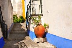 街道在Obidos,葡萄牙 免版税库存照片