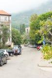 街道在Petrovac,黑山 免版税库存照片