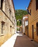 街道在Ston,克罗地亚。 库存照片