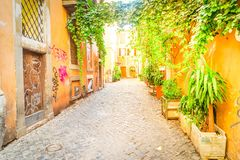 街道在Trastevere,罗马,意大利 免版税库存图片