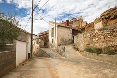 街道在Vivel del里约马丁村庄,特鲁埃尔省,阿拉贡,西班牙 库存照片