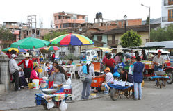 街道场面在卡哈马卡,秘鲁 免版税图库摄影