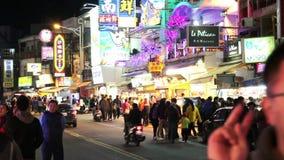 街道场面在垦丁夜市场上 HD 股票视频