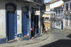 街道场面在欧鲁普雷图,巴西 库存图片