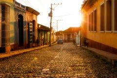 街道场面在特立尼达,古巴 库存图片