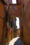 街道场面在锡耶纳,托斯卡纳,意大利 免版税库存图片