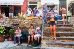 街道场面在Manarola,五乡地,意大利 库存图片