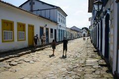 街道场面在Paraty,巴西 图库摄影