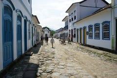 街道场面在Paraty,巴西 库存图片