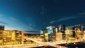 街道夜全景在市中心在奥斯陆, Norw 库存照片