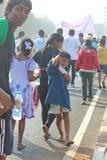 街道孩子海得拉巴10K跑事件,印度 免版税库存照片