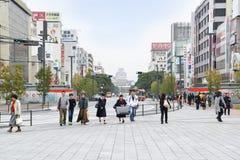 街道导致姬路城堡,日本 免版税库存照片