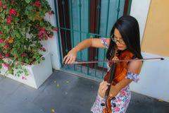 街道小提琴手 免版税库存图片