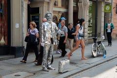 街道执行者在克拉科夫 库存图片