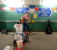 街道执行者在香港 免版税库存照片