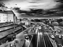 街道摄影 在黑白的艺术性的神色 免版税库存照片