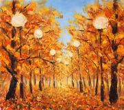 街道撒布与黄色叶子 树在与街灯的秋天 图库摄影