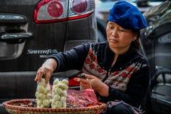 街道新鲜水果卖主河内 免版税库存图片