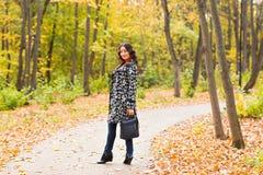 街道时尚概念-一个俏丽的女孩的画象 秋天美丽的妇女 库存照片
