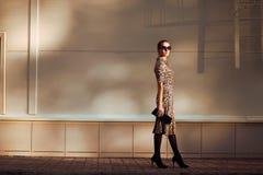 街道时尚,相当在豹子礼服的端庄的妇女模型 免版税库存照片