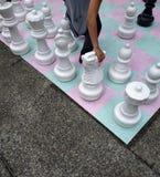 街道棋盘的手移动的骑士 免版税图库摄影