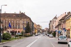 街道欧洲委员会- SighisoaraStreet欧洲委员会的中央街道- Sighisoara cit的中央街道 库存图片