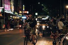 街道泰国ChiangMai车行道自行车 免版税库存照片