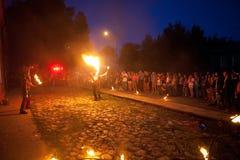街道火展示 免版税库存图片