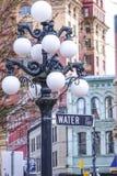 街道灯笼在温哥华Gastown -历史的区-温哥华/加拿大- 2017年4月12日 图库摄影