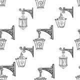街道灯笼,无缝的样式 皇族释放例证