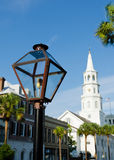 街道煤气灯在查尔斯顿, SC 免版税库存照片