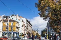 街道生活,索非亚,保加利亚的历史中心 库存照片